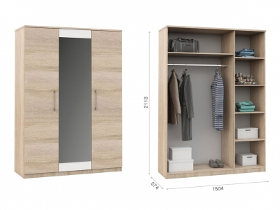 Распашной шкаф Аврора 3дв Сонома/белый