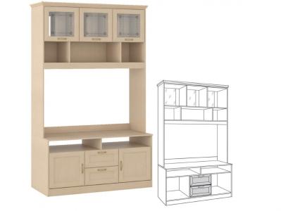 Шкаф-витрина средний Флорида 1 501-02 1432х555х2252