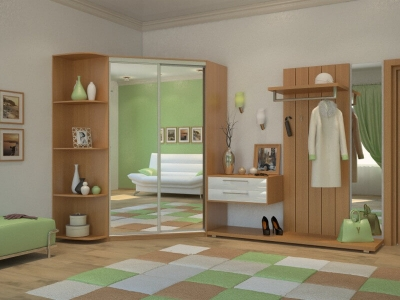 Угловой шкаф-купе Елена с 2-мя зеркалами и угловым элементом миланский орех