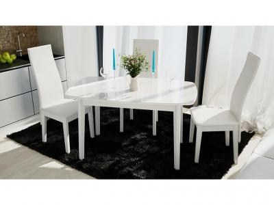 Стол обеденный Портофино СМ(ТД)-105.02.11(3) Белый глянец, стекло