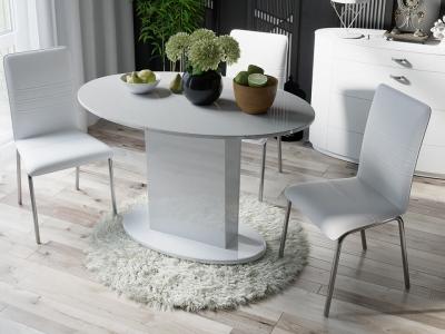 Стол обеденный со стеклом Марсель СМ(Б)-102.02.12 Белое, стекло